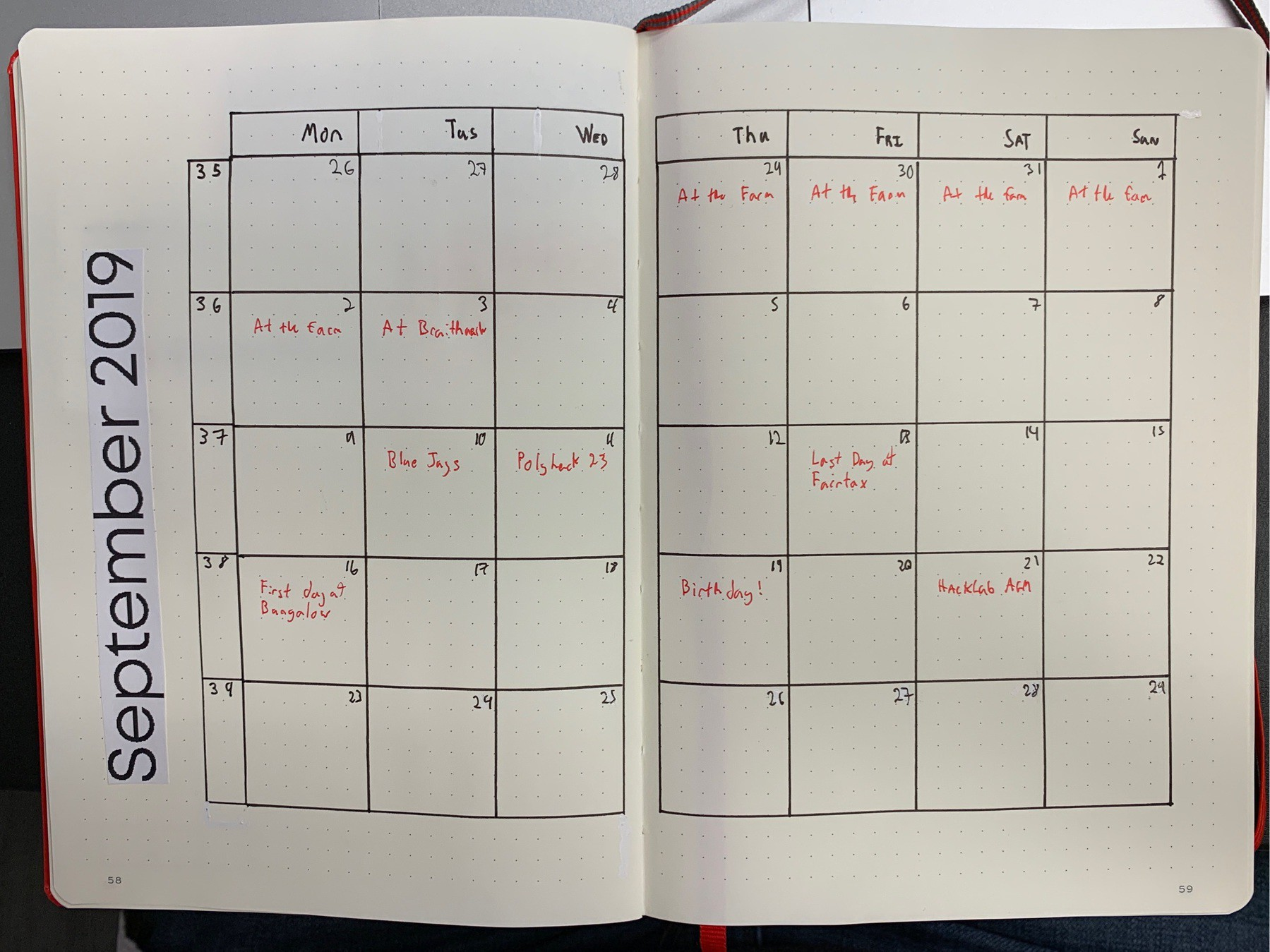 My Bullet Journal's Monthly Log for September 2019.