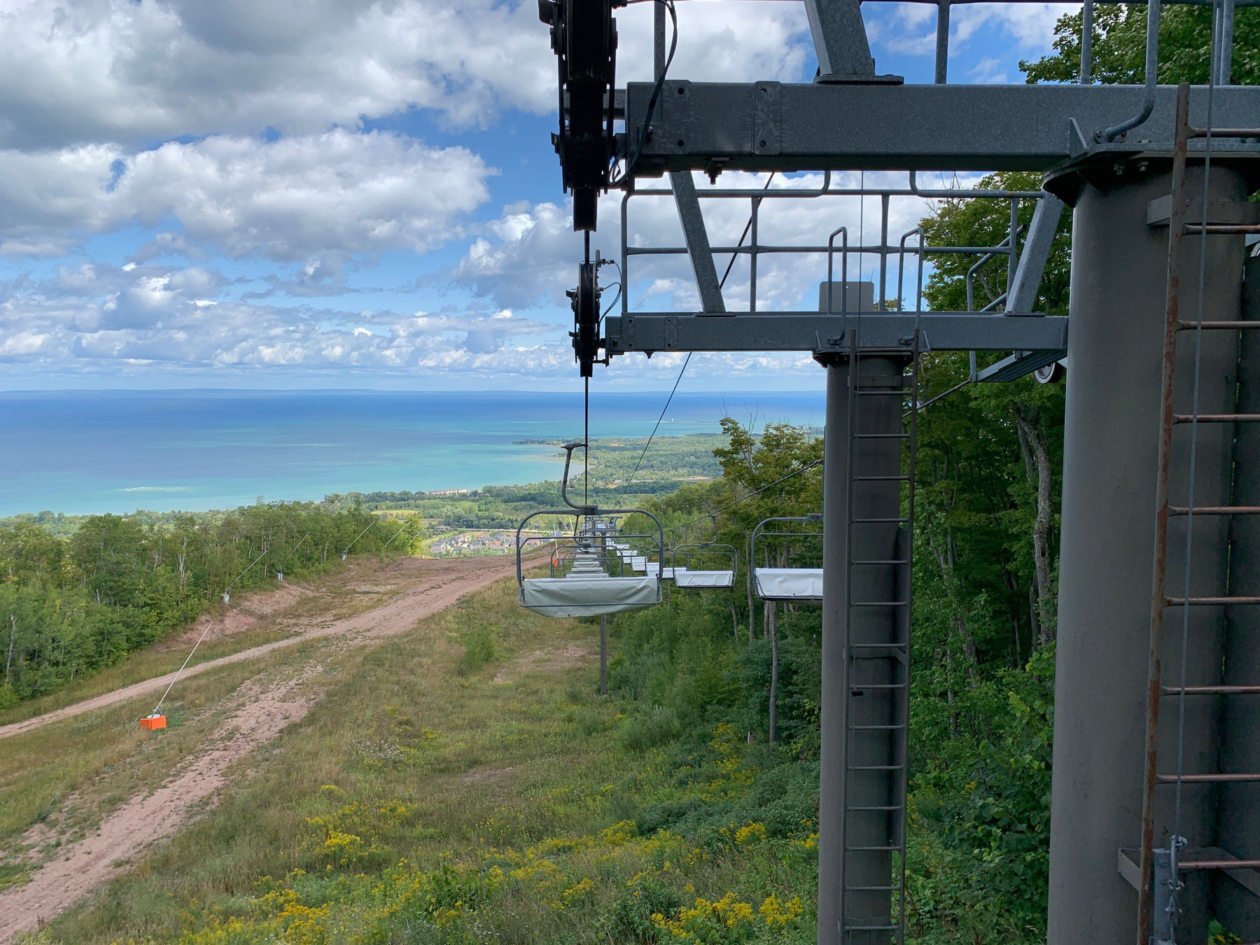 Chairlift in the summer.